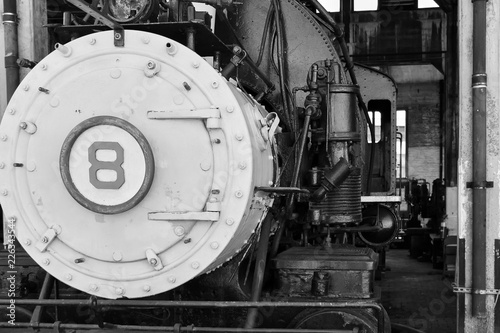 Black and white of vintage steam engine © ChrisLonsberryMedia