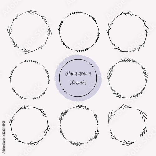 Photo  Hand drawn wreath set