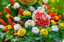 Fruit Carved Shape Beautiful Flowers
