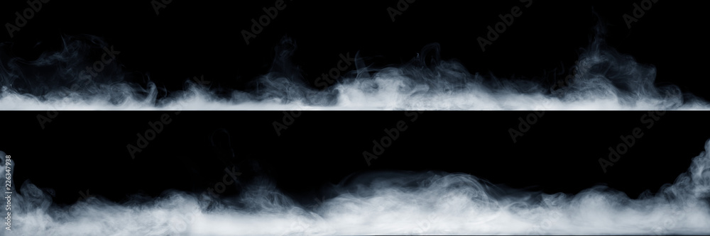 Fototapety, obrazy: Panoramic view of the abstract fog or smoke move on black background. White cloudiness, mist or smog background.