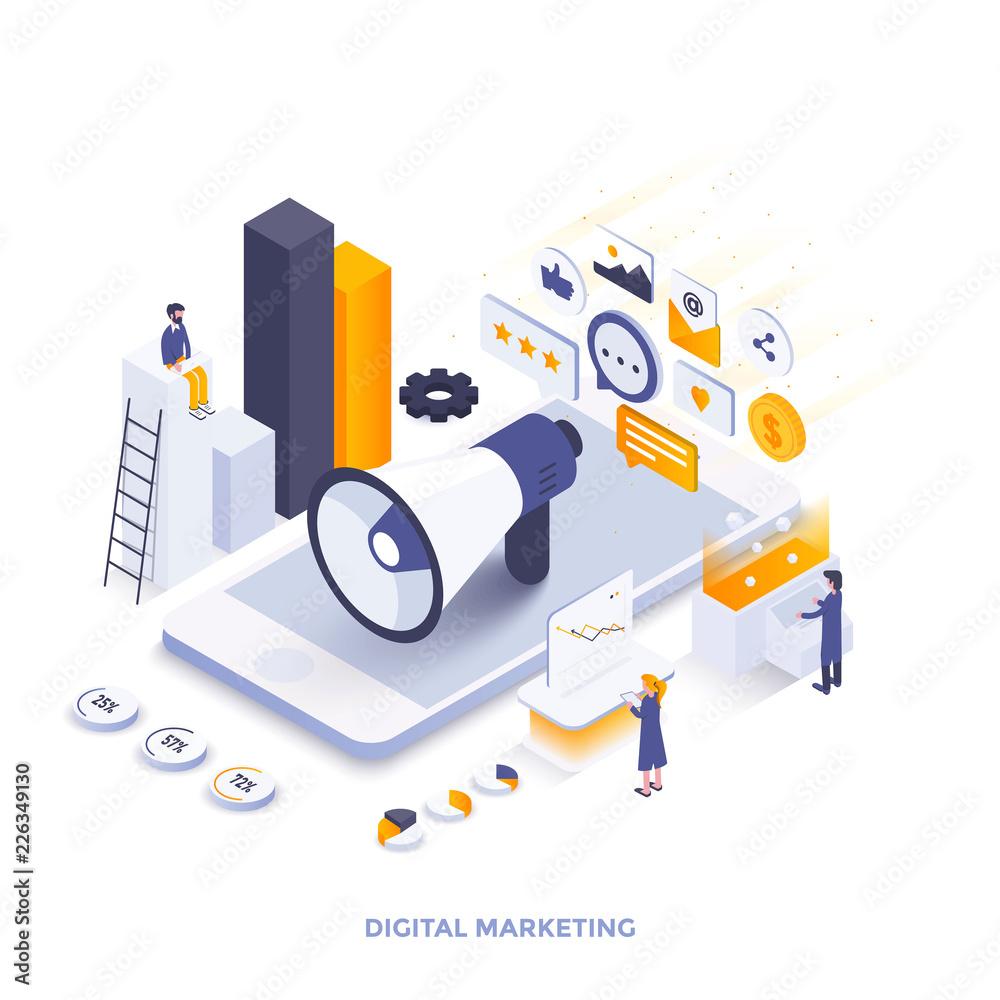 Photo  Flat color Modern Isometric Illustration design - Digital Marketing