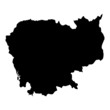 Black map country of Cambodia