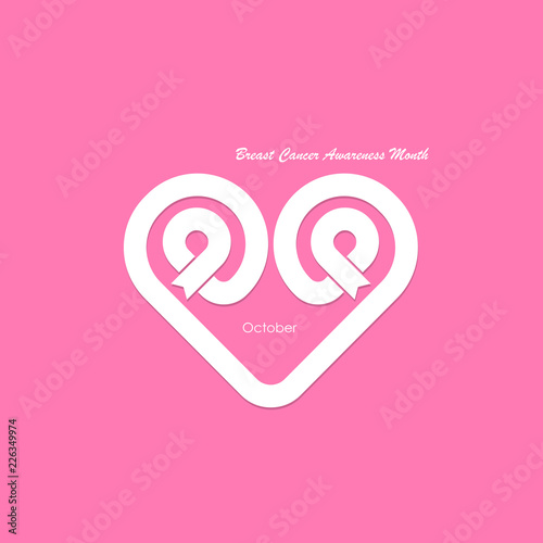 43c9ad845a6 Heart shape & Pink Ribbon icon.Breast Cancer October Awareness Month ...