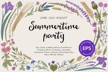Summertime Party. Floral  Hori...