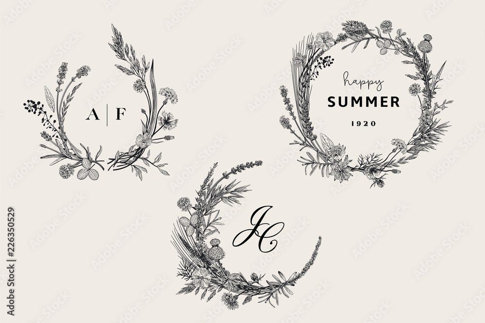 Fototapeta Floral wreaths. Design elements. Flowers and plants of fields and forests. Vector vintage botanical illustration. Black and white