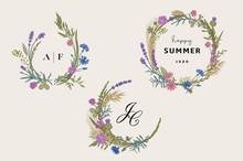 Flower Wreaths. Design Element...