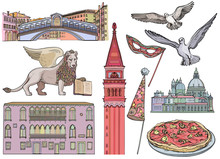 Venice Tourist Attractions Sketch Set. Vector Illustration