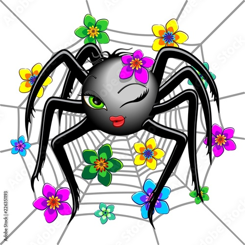 Spoed Foto op Canvas Draw Spider Cute Wink Emoji Face Character