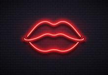 Retro Neon Lips Sign. Romantic...