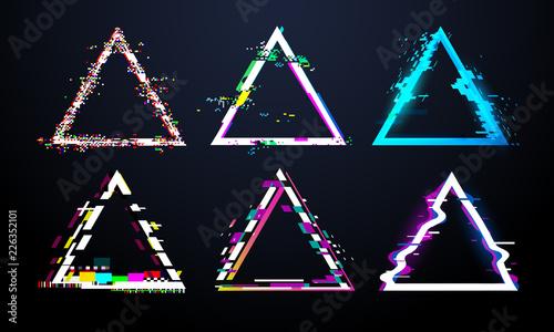 Tablou Canvas Glitch triangle frame