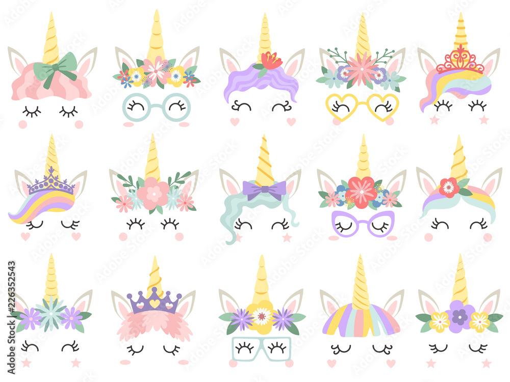 Fototapeta Unicorn face. Beautiful pony unicorns faces, magic horn in rainbow flower wreath and cute eyelashes vector illustration set