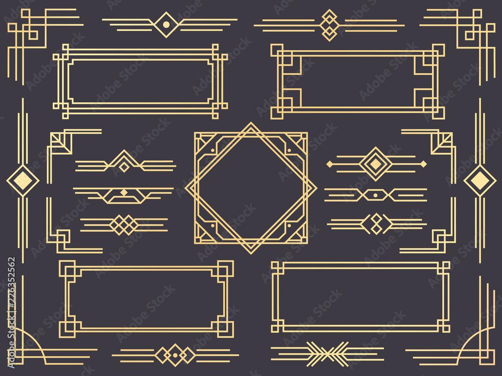 Fototapety, obrazy: Art deco line border. Modern arabic gold frames, decorative lines borders and geometric golden label frame vector design elements
