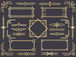 Art deco line border. Modern arabic gold frames, decorative lines borders and geometric golden label frame vector design elements