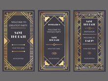 Art Deco Art Banner. Fancy Party Event Invitation, Glamour Golden Retro Vogue Pattern And Gold Frames Vector Banners Illustration Set