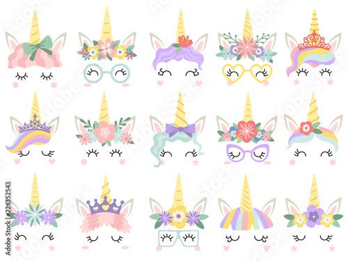 Printed kitchen splashbacks Illustrations Unicorn face. Beautiful pony unicorns faces, magic horn in rainbow flower wreath and cute eyelashes vector illustration set