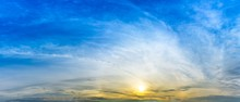 Panorama Sky With Sun And Clou...