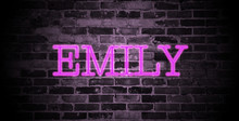 First Name Emily In Pink Neon On Brick Wall