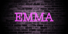 First Name Emma In Pink Neon On Brick Wall
