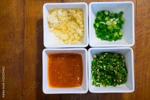 Foto op Aluminium Buffet, Bar Set of shabu sauce on white bowl