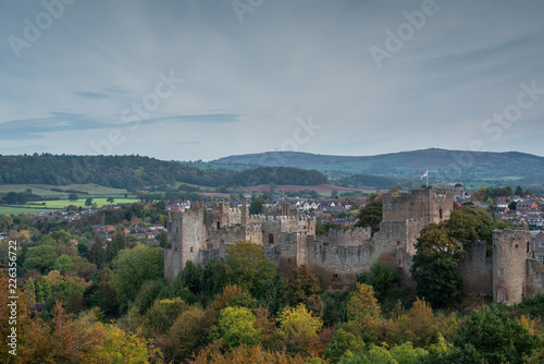 Printed kitchen splashbacks Athens View across autumnal woodland to Ludlow Castle built by the Normans with the Clee Hills in the background.