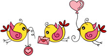 Cute Three Love Yellow Birds