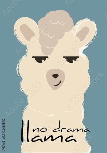 no drama llama cute fashion lama vector quote drawing poster Wallpaper Mural