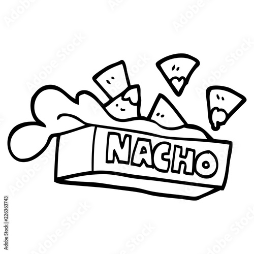 Fotomural black and white cartoon nacho box