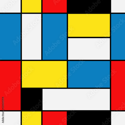 Photo  Seamless abstract mosaic pattern. Piet Mondrian emulation .