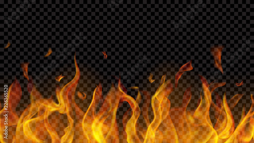 fototapeta na drzwi i meble Translucent fire flame with horizontal seamless repeat on transparent background. For used on dark backgrounds. Transparency only in vector format