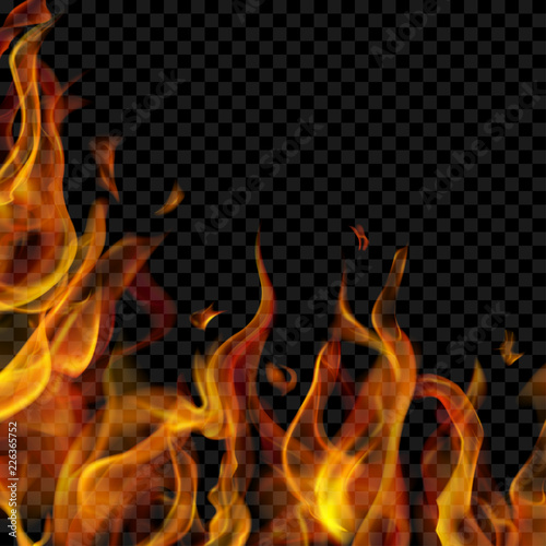 Translucent fire flame on left and below on transparent background. For used on dark backgrounds. Transparency only in vector format Fototapete