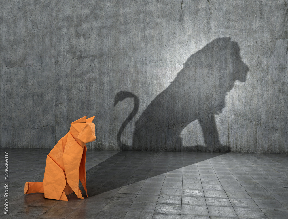 Fototapety, obrazy: Concept of hidden potential. A paper figure of a cat that fills the shadow of a lion. 3D illustration