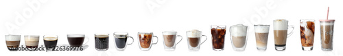 Photo Set with different types of coffee drinks on white background