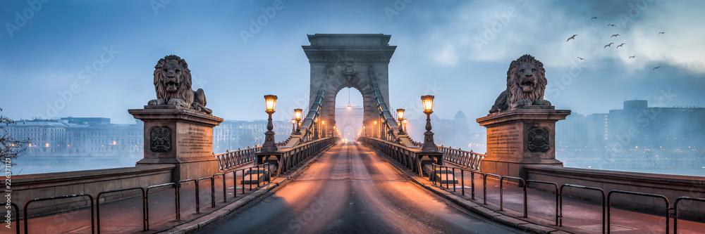 Fototapeta Kettenbrücke Panorama in Budapest, Ungarn