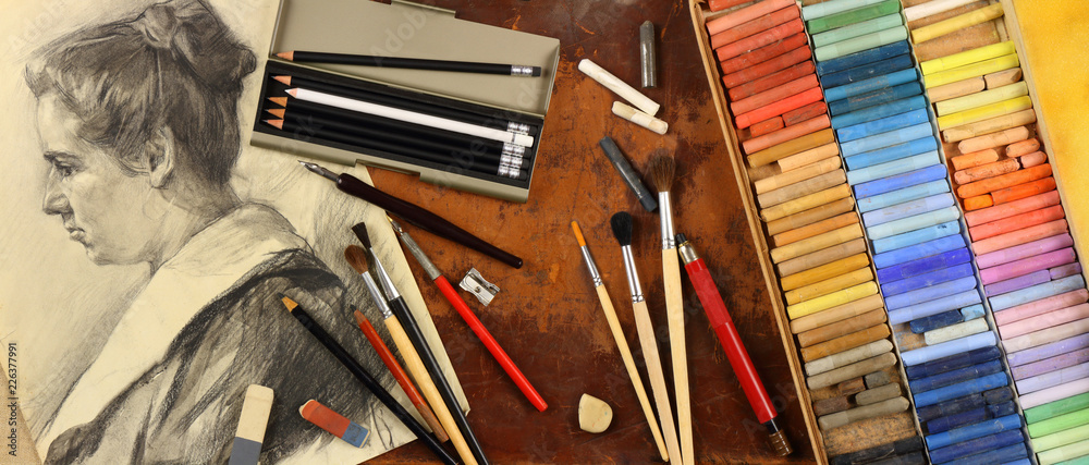 Fototapeta Panorama, accessories and tools of a graphic artist