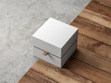 White Gift Box Packaging Mockup With Golden Hack Half Side View On Modern Floor