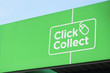 canvas print picture - Click collect online shopping shop mall quick easy green sign