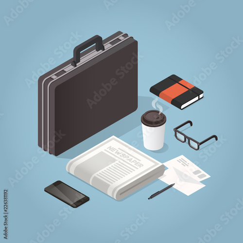 Photo Isometric Businessman Hard Case Illustration