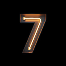 Number 7, Alphabet Made From Neon Light With Clipping Path. 3D Illustration