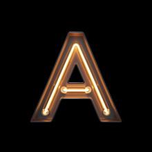 Neon Light Alphabet A With Cli...