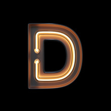 Neon Light Alphabet D With Cli...