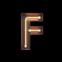 Neon Light Alphabet F With Cli...