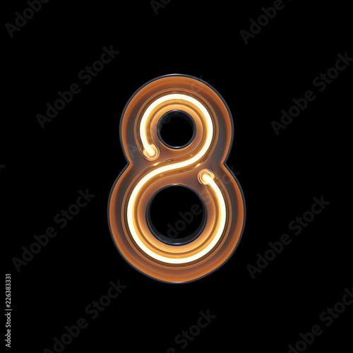 fototapeta na ścianę Number 8, Alphabet made from Neon Light with clipping path. 3D illustration