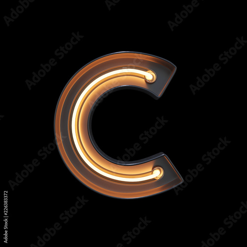 obraz lub plakat Neon Light Alphabet C with clipping path. 3D illustration