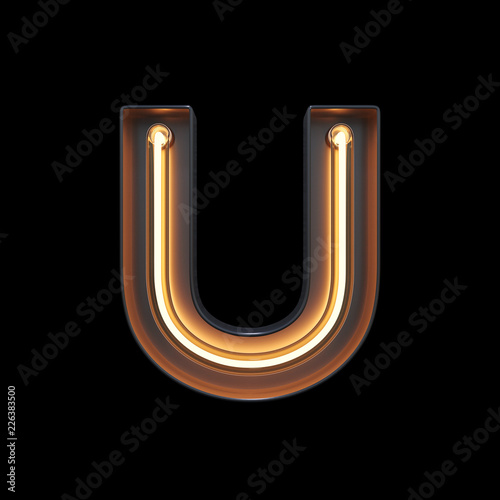 fototapeta na ścianę Neon Light Alphabet U with clipping path. 3D illustration