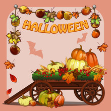 Poster On Theme Of Halloween Holiday Party Or Greeting Card On Theme Of Golden Autumn With Space For Your Text. Fallen Autumn Tree Leaves. Wooden Cart And Pumpkin. Cartoon Vector Close-up Illustration