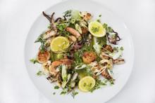 Close Up Of Shrimp Salad Served On Plate