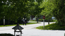 Amish Couple Walking Down The ...