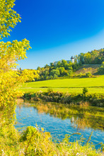 European Countryside Landscape, River Dobra In Autumn And Old Fortress In Novigrad, Karlovac County, Croatia
