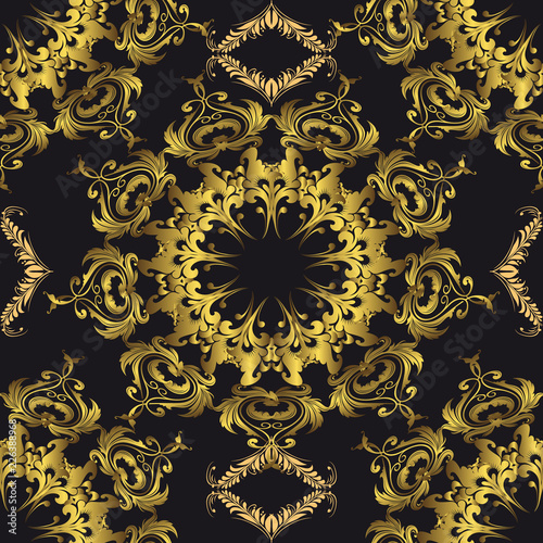 Foto  Baroque gold vector seamless mandala pattern