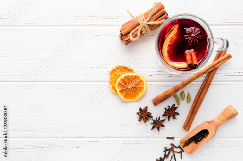 Fotobehang Cocktail Mulled wine with orange